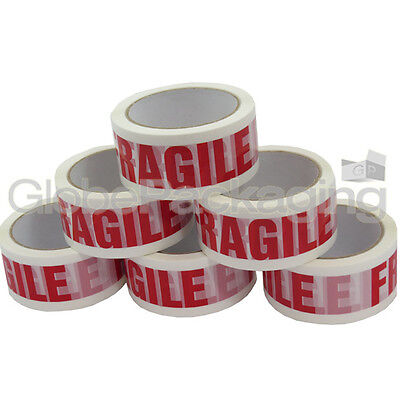 2 ROLLS OF FRAGILE PRINTED PARCEL PACKING TAPE 48mmx50M