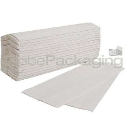 600 x WHITE 2 PLY C-FOLD PAPER HAND TOWELS MULTI FOLD