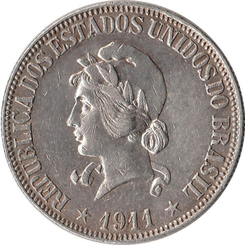 1911 Brazil 1000 Reis Silver Coin KM#507