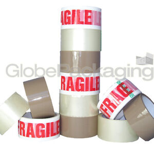 STRONG-PACKING-TAPE-BROWN-CLEAR-FRAGILE-48mm-x-50M-Rolls-PARCEL-TAPE