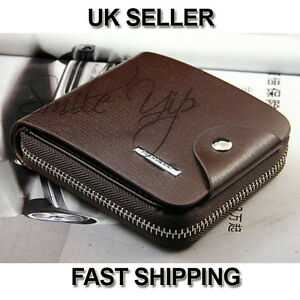 Mens Brown Soft Leather Bifold Credit Card Holder Purse Zip Wallet