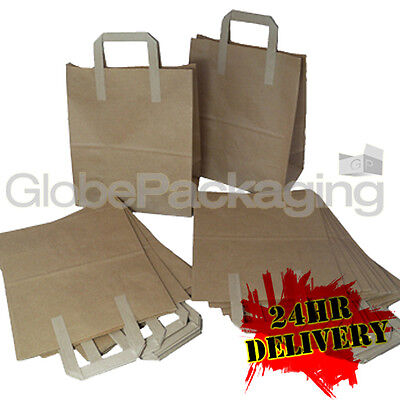 2000 MEDIUM BROWN KRAFT PAPER CARRIER SOS BAGS 8x4x10