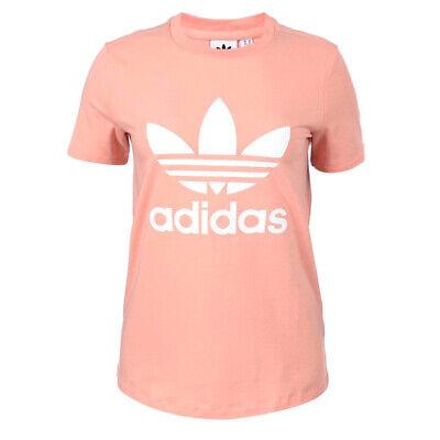 Adidas Womens  Trefoil Tee Graphic T-Shirt Crew Neck Top Peach DV2587