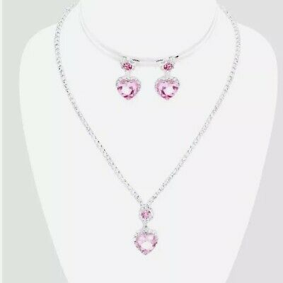 Light Pink Heart (Light Pink Heart Rhinestone Crystal Pageant Necklace Jewelry Set Earring)