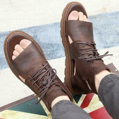 Mens Gladiator Sandals High Top Leather Lace Up Casual Shoes Roman Hollow Out - Mens Roman Gladiator Sandals