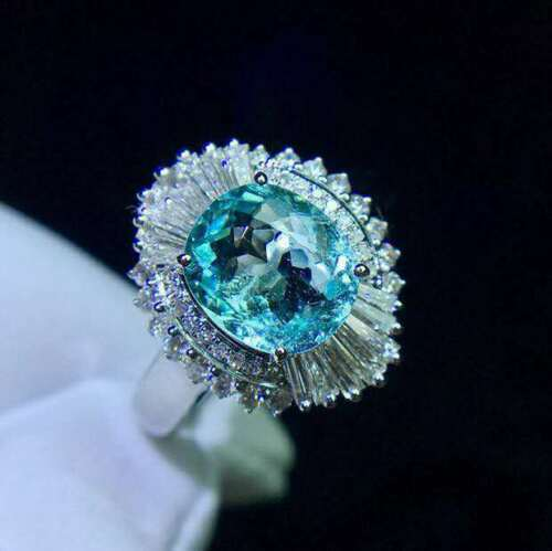 Certified Natural Aquamarine Ring 925 Sterling Silver White Women Gifts