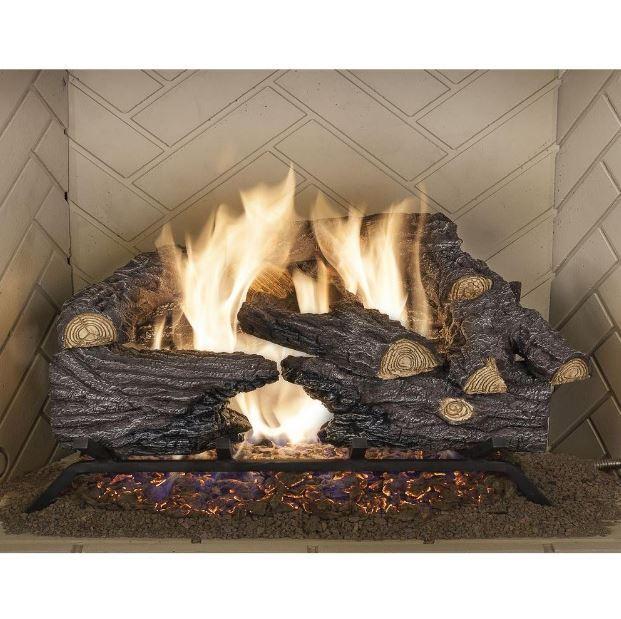 Vented Natural Gas Log Set Fireplace Insert Fire Heater Flu
