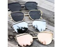 Cat Eye Sunglasses, Rose Gold, Black, Gold, Silver Mirror