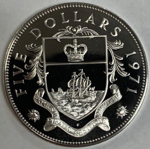1971 Bahamas Silver Proof Five 5 Dollars