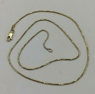"""14ct Gold Italian 17"""" Box Link Chain Necklace.  Goldmine Jewellers."""