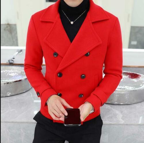Mens Wool Blend Short Slim Fit Coat Double Breasted Lapel Collar Peacoat Jacket