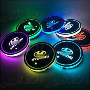 2PCS RGB LED Car Cup Holder Pad for Hyundai Auto Interior Atmosphere Lights