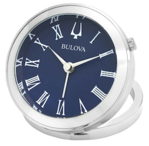 Bulova Silver and Blue Diver Alarm Clock B6128