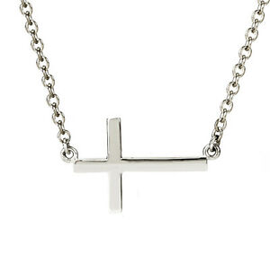 pretty 100 925 sterling silver 1 2 sideways cross necklace