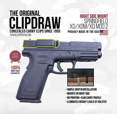 Clipdraw Belt Clip Springfield Xd Xdm Xd Mod 2  9 40 45 Iwb Owb Black Right Side