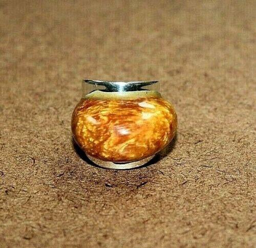 Vintage Esperanza Sterling Silver Butterscotch Amber Statement Ring Sz 8 [100WEI