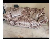 Crushed velvet mink sofa