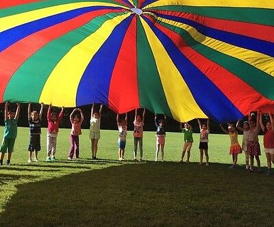 24 FT Kids Play Parachute w/22 Handles & Carrying Case Indoor/Outdoor Exercise
