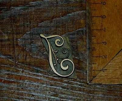 """I"" Messingbuchstabe Initial Buchbinden Prägen bookbinding Buchbinder Initiale"