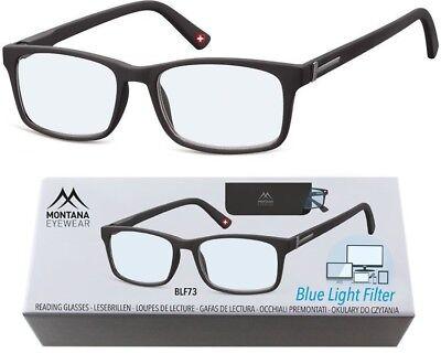 ---Blaulichtfilter-- Lesebrille Montana Blaufilter schwarz matt Aktions-Preis - Schwarze Brille