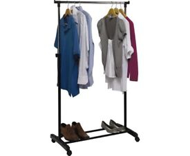 TWO Adjustable Chrome Plated Clothes Rail - Black