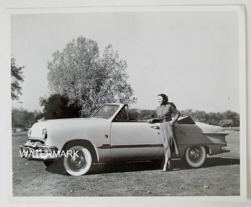1951 Ford Convertible with attractive model, Original 8x10 Photograph