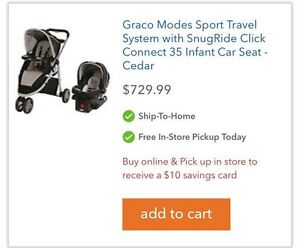 Graco Travel System + Mirror & Car Seat Cover