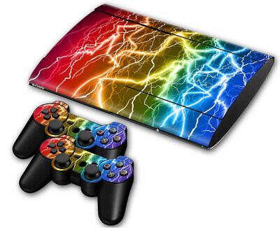 PS3 PLAYSTATION 3 Super Slim Skin Design Sticker Protector -colorful Lightning