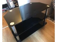 BLACK GLASS TV STAND - HARDLY USED, GREAT CONDITION! GOING QUICK!!!