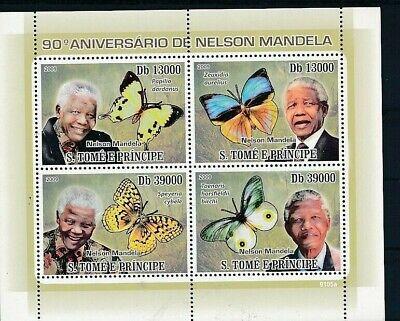 D241307 Famous People Nelson Mandela Butterflies S/S MNH S.Tomé E Principe