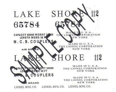 65784 LAKE SHORE Gondola Waterslide handmade Decals for the Prewar Gondola ()