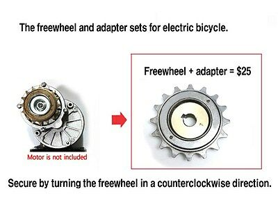 Counterclockwise freewheel and adapter set for electric bicycle