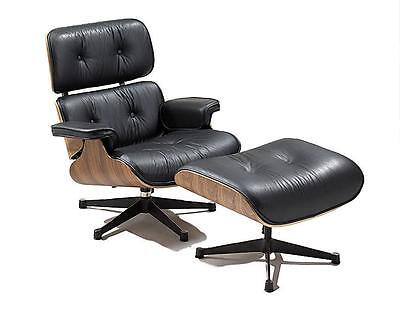 #3007 Modern Eames style black PU leather lounge chair + ottoman set  on Rummage