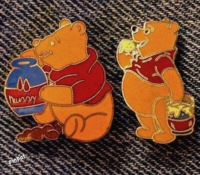 Winnie the Pooh~Lot of 2 Disney Pins~Hunny Pot~80's vintage cloisonne