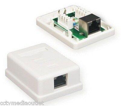 Keystone Jack Surface Mount Box - Single 1 Port Surface Mount Box for FTP Cable Keystone Jack Cat6 Cat5 - White