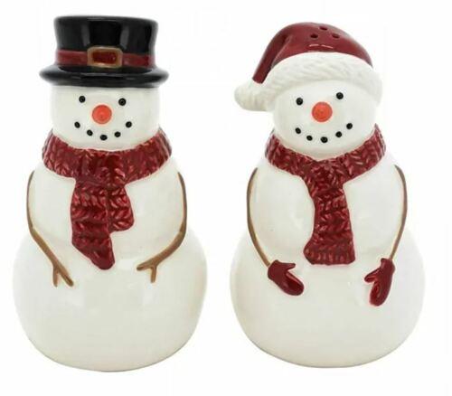New St. Nicholas Square Yuletide Snowman Salt & Pepper Shaker Set