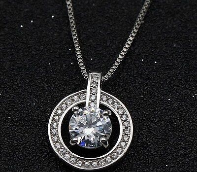 Sterling Silver Circle Cubic Zirconia Heart Pendant Necklace 18