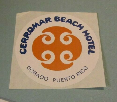 Vintage 1970s Cerromar Beach Hotel Dorado Puerto Rico Unused Advertising Sticker