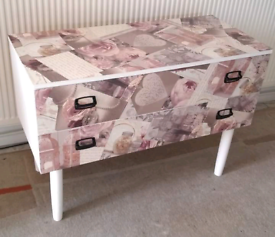 1 X 2 DRAWER UNIT PAINTED WHITE & DECOUPAGED IN BLUSH HEARTS / FLOWERS