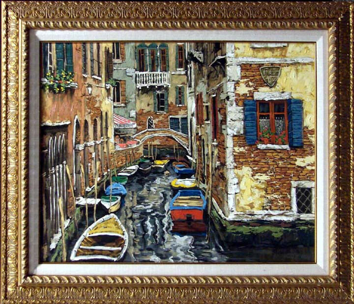 Viktor Shvaiko Boats Of Venice Framed Canvas Hand Signed Fine Art, Make Offer