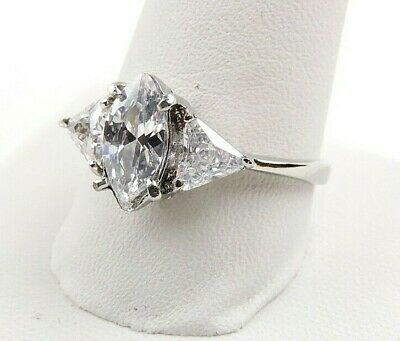 Stainless Steel 3.2 cttw Marquise And Trillion Cubic Zirconia Ring
