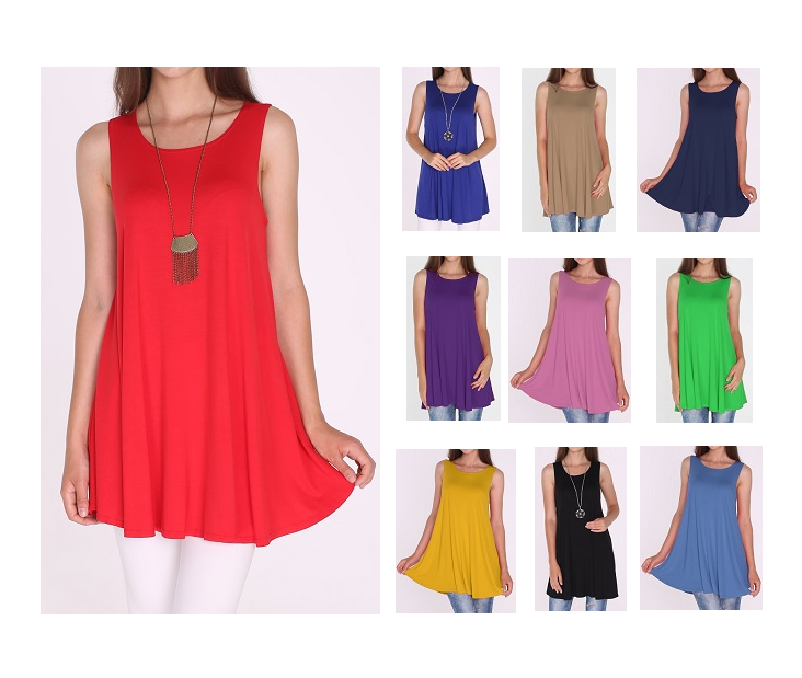 Women Long Tunic Dress Tank Top Sleeveless Scoop Neck Solid