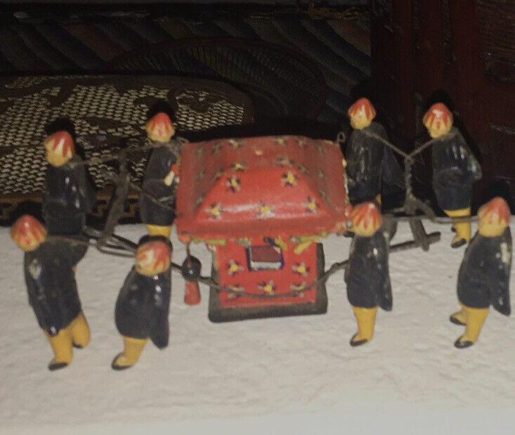 Antique Chinese Wedding Carriage Procession Miniature Clay Mud Figurines