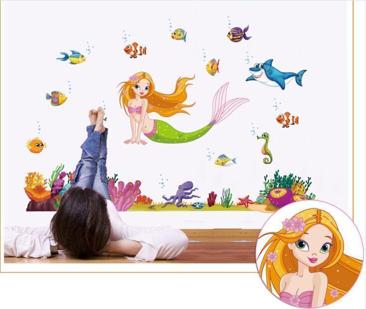Dekoration Wandsticker Kinderzimmer Xxl Wandtattoo Meerjungfrau Fische Unterwasserwelt Meer Mobel Wohnen Elin Pens Ac Id