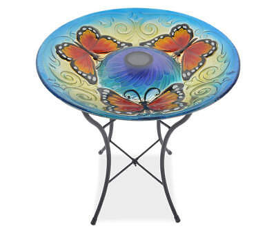 BUTTERFLY SOLAR LIGHTED HUMMINGBIRD BIRD BATH Glass Bowl Garden Yard  18""