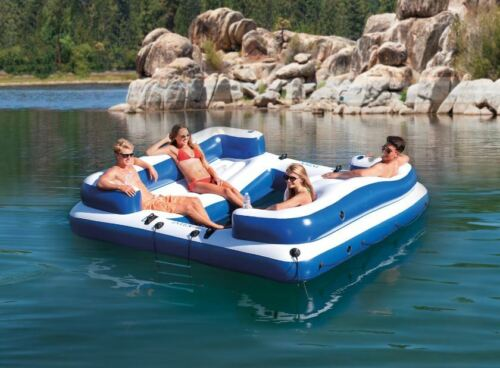 Inflatable Island Pontoon Boat Raft Float Lounge Lake Large River Beach Ladder