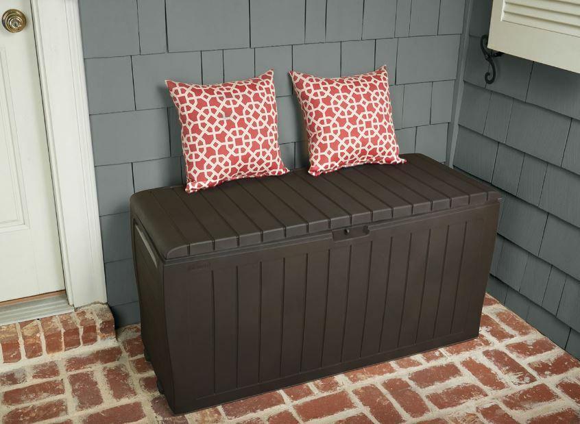 Outdoor Storage Box Bench Waterproof Wheels Patio Deck Porta