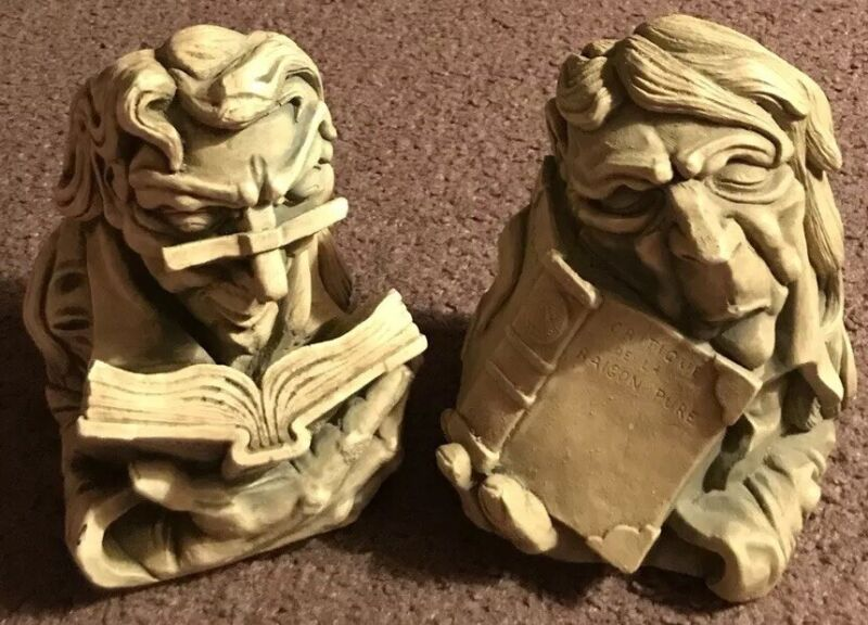 Vintage Agatha Christie & Immanuel Kant *Racist* Bookend Bookweights VERY RARE