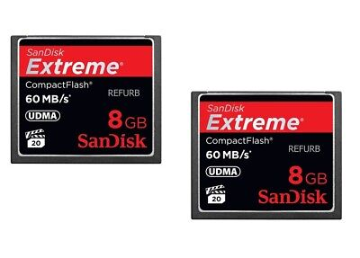 Lot of 2 Sandisk 8GB Extreme CF CompactFlash Card  UDMA 60MB/s 400x (SDCFX-008G) S400 Memory Card