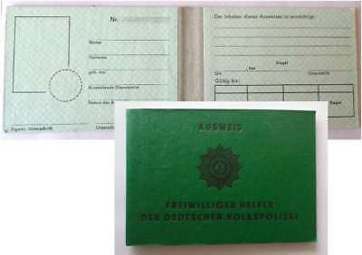 DDR Polizei -Helfer Ausweis East german RDA GDR police helper ID mit Emblem VOPO